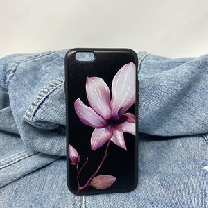iPhone 6(s) Case Black Floral Silicone